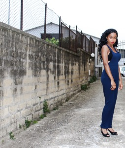 Blue Jumpsuit - Boohoo Crop Top - Calzedonia Shoes - Anika